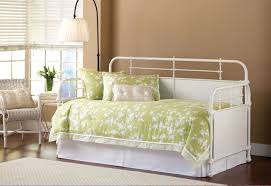 bedroom white wrought iron frame daybed with green daybed cover