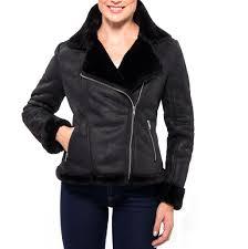 alpine swiss womens faux shearling jacket fashion biker coat