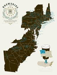 The Thirteen Colonies Map Breweries Of The 13 Original States Of The United States Of