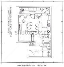 architectural sketch floor planstudio apartment stock vector