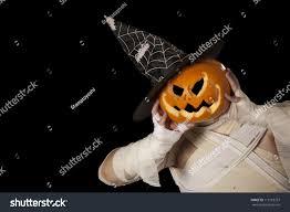 scary halloween mummy pumpkin man witch stock photo 115118767
