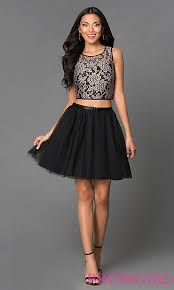 short two piece lace a line dress promgirl