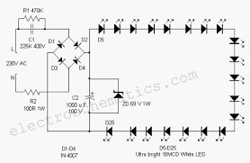 mains operated led lamp u2013 electronic circuits and diagram