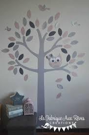 chambre hibou stickers arbre poudra argent gris fonca collection avec