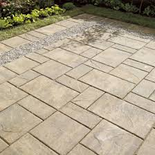 Concrete Slabs For Backyard by Backyard Patio Of Concrete Paving Slabs With Gravel Insert