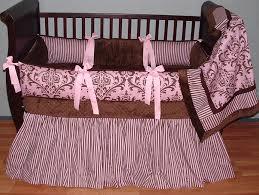 Pink And Brown Damask Crib Bedding Korrin Pink Brown Custom Baby Bedding
