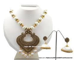 jhumka earrings with chain yaalz antique chain neckset matching jhumka earring combo in