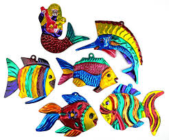 mexican painted tin fish mermaid ornaments set of 6