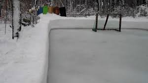 backyard rink with snow and ice for boards youtube