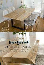 diy live edge table with steel base lemon thistle diy live edge wood dining room table with steel legs uhhhhm love this