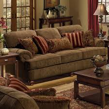 Burgundy Living Room Furniture by Belmont Sofa With Rolled Arms And Decorative Pillows By Jackson