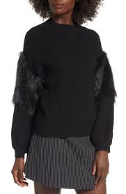 fur sweater leith faux fur sleeve sweater nordstrom