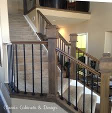 Wrought Iron And Wood Banisters Staircase Remodel Wrought Iron Banister Railing Dark Stained