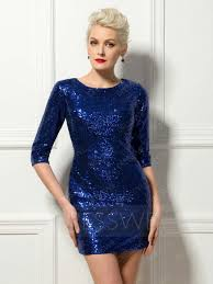 glorious 3 4 long sleeves sequins short length sheath cocktail