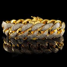 cuban link bracelet gold images 18k gold 3 row iced out cuban link bracelet niv 39 s bling jpg