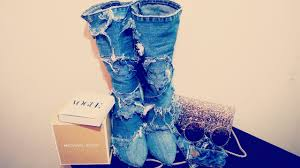 Denim Blue Diy Denim Boots Diy Jean Boots Youtube