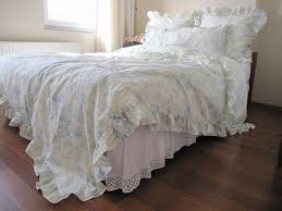 Simply Shabby Chic Duvet by Sale Cream Pastel Blue Floral Ruffled Bedding Queen Size Duvet