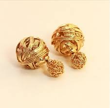 new fashion gold earrings hot selling new fashion sides pearl earring two gold
