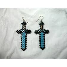minecraft earrings minecraft diamond sword earrings polyvore