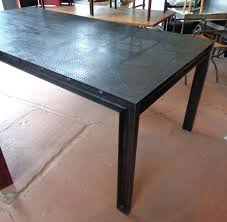 parsons wood dining table steel parsons dining table with perforated metal top dining room