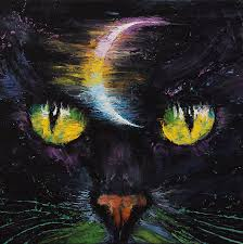 moon cat painting by michael creese