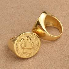 gold metal rings images Gold color new turkish coin ring copper metal ring arab turkey jpg