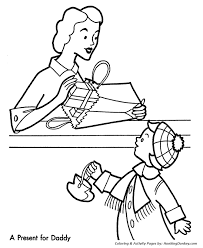 christmas shopping coloring pages present dad christmas
