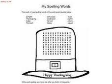 thanksgiving spelling words and word search puzzle 3rd 4th grade