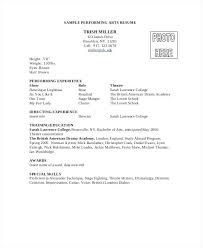Special Skills Theatre Resume Resume Actor Cv Template Free Download Performing Arts Resume