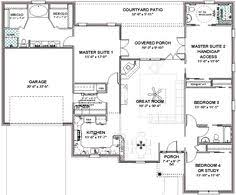 one floor plans with two master suites 653681 wheelchair accessible in bedroom suite