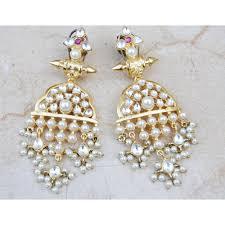 dangler earrings kundan pearl gold dangler earrings