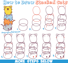 draw cute kawaii cats stacked easy
