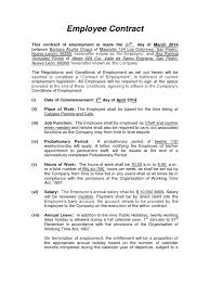 Notice Of Termination Of Employment Contract by Contract Of Empolyment Barbara Acuna Working Time Employment