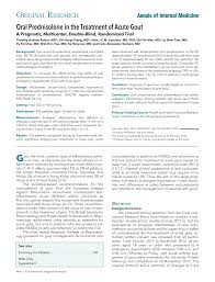 Double Blind Research Oral Prednisolone In The Treatment Of Acute Gout Annals Of