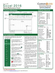microsoft excel 2016 quick reference card 2016 customguide tab