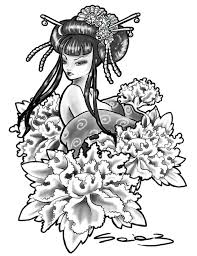 nice geisha stencil japanese tattoo design graphic design
