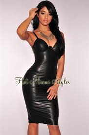 leather dress faux leather padded bustier dress