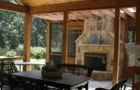 Screen Porch Fireplace by Screened Porches With Gables And Stone Fireplace With Slate In