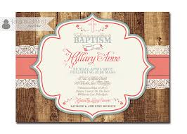 rustic baptism invitation lace wood christening invite baby