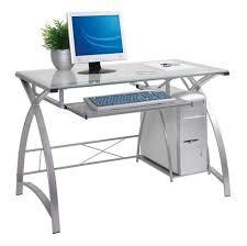 Glass Metal Computer Desk Furniture Modern Metal Computer Desk With Glass Top And Cpu Stand