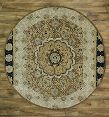 8x8 Rugs Hand Tufted Classic Floral Brown Round 8x8 Kashan Agra Oriental