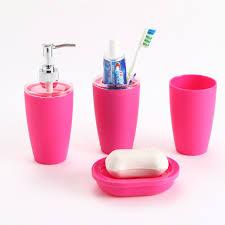 4pc plastic elegant soap dish dispenser shampoo bottle toothbrush