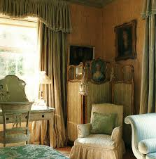 english country bedroom with silk curtains style english