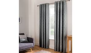 grey jacquard trellis geo curtains home u0026 garden george at asda