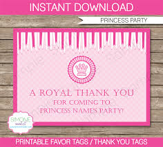 princess party favor tags thank you tags birthday party