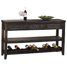 sofa table with wine rack and studded hardware by hillsdale wolf