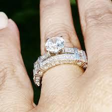 moissanite engagement ring wedding set unique art deco style with