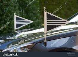 Automotive Flags Two Little Flags On Front Mourning Stock Photo 496693186