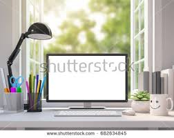 working desk easy white working desk blank computer stock illustration
