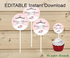 personalized cupcake toppers editable instant bridal shower wedding shower cupcake